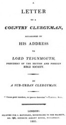 A letter to a country clergyman, occasioned by his address to Lord Teignmouth