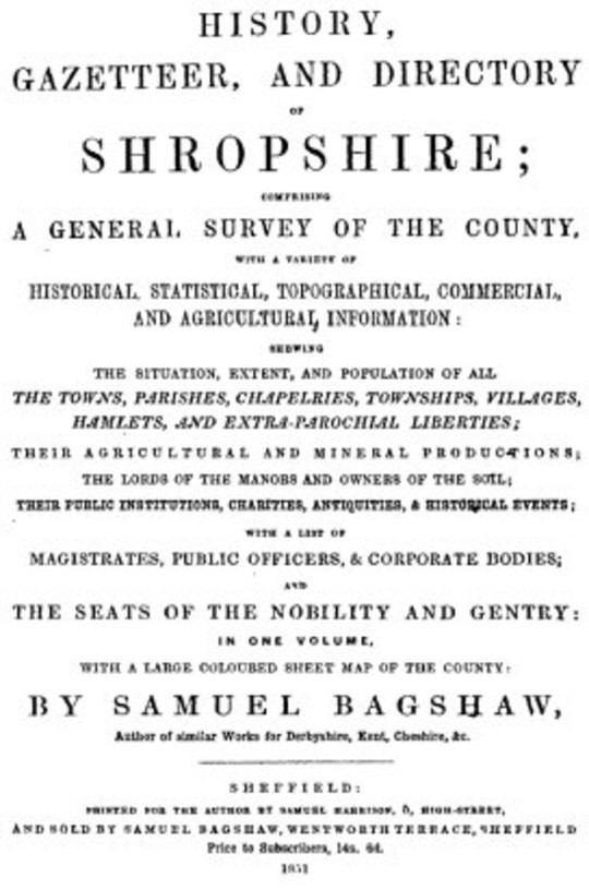 History, Gazetteer, and Directory of Shropshire [1851]