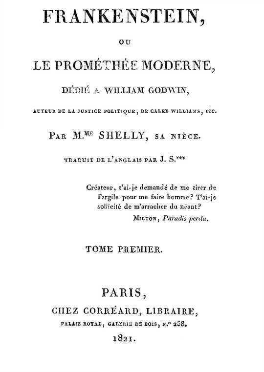 Frankenstein, ou le Prométhée moderne Volume 1 (of 3)