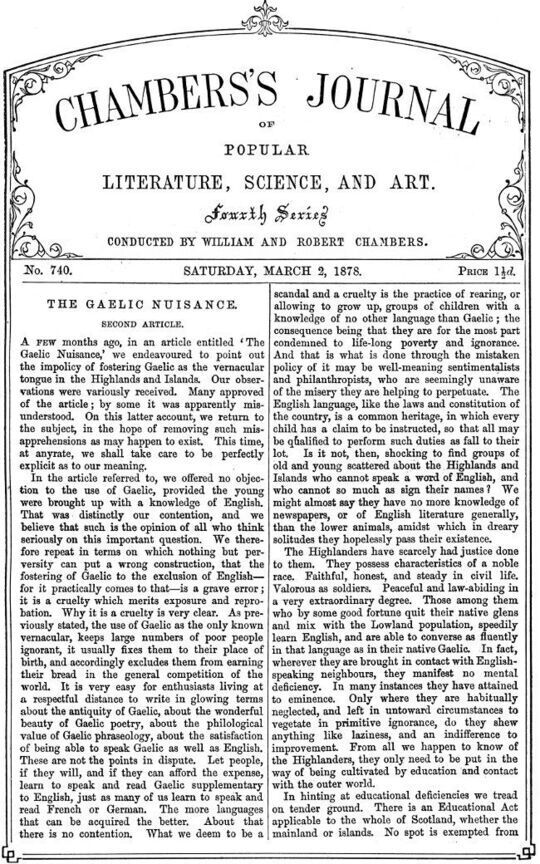 Chambers's Journal of Popular Literature, Science, and Art, No. 740, March 2, 1878