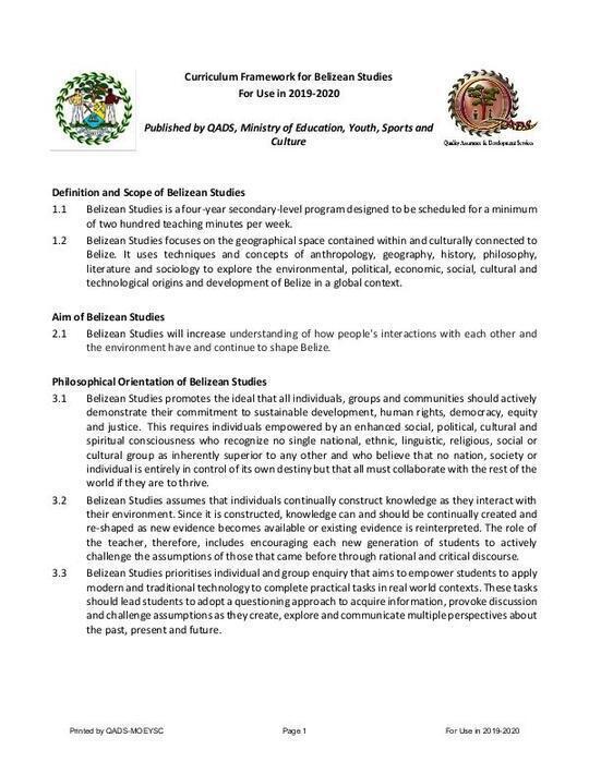 Curriculum Framework for Belizean Studies  For Use in 2019-2020