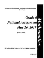 Mathematics - Grade 6 National Assessment May 26, 2017