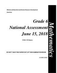 Mathematics - Grade 6  National Assessment  June 15, 2018