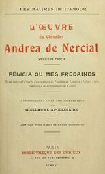 L'oeuvre du chevalier Andrea de Nerciat (2/2) Félicia ou mes fredaines