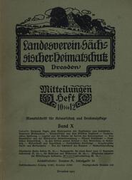Landesverein Sächsischer Heimatschutz, MitteilungenBand X, Heft 10-12 Monatsschrift für Heimatschutz und Denkmalpflege